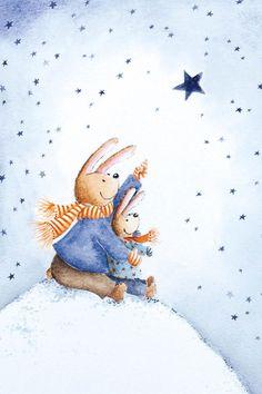 Handcraft Fridge Magnet Christmas Navidad Gift Rabbit Winter Home Kitchen Decor Illustration Inspiration, Illustration Noel, Winter Illustration, Christmas Illustration, Christmas Books, Winter Christmas, Vintage Christmas, Christmas Time, Winter Art