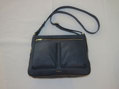 Fossil ZB6738406 Piper Small Crossbody Midnight Navy leather Multi purse NWT*^…