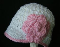 Baby Crochet Newsboy Hat with Flower