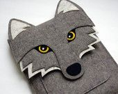 Wolf MacBook Air 11 inch sleeve - Gray felt - MADE TO ORDER