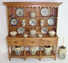 1992 Ben Holland DH Miniature Welsh Cupboard +23 pcs of Jane Graber Stoneware