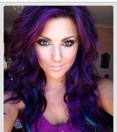 Hair, hair color, hair style, colors, curly hair, purple, blue, dark