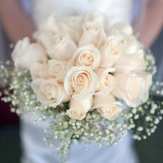 Light Shades Wedding Bouquet - Buy Online in Hartford Flower Shop Baby's Breath Bridal Bouquet, Rose Bridal Bouquet, Wedding Bouquets, Wedding Flowers, Wedding Day, White Wax Flower, Wax Flowers, Order Flowers, Ivory Roses
