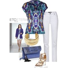Borealis silk digital-print blouse with Moonlit white jeans, by ETCETERA - www.etcetera.com Borealis by etcetera-nyc on Polyvore
