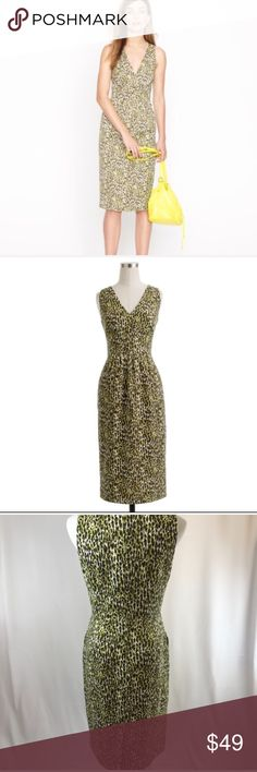 Jcrew Leopard Dress Super cool Leopard abstract design great V neck. 37' long Perfect dress for all seasons, Can see this for fall and winter. With a cool turtle neck underneath or a collared shirt. J. Crew Dresses
