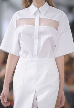 Transparency - white shirt with sheer panels; fashion details // Preen Spring…
