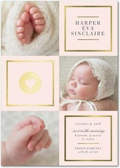 Add some shine to your baby girl's birth announcement with this gorgeous gold foil and chenille pink photo card.