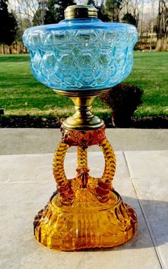 1880's unique design Catherdral Kerosene Oil Lamp in Blue and Amber