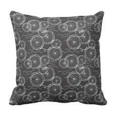 Riding my Bicycle - black & white repeat pattern Throw Pillow - pattern sample design template diy cyo customize