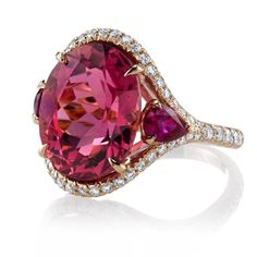 A glorious and finely saturated oval pink tourmaline is kissed by sweet pear-shaped rubies on either side on this rose gold and diamond ring by Omi Privé Rose Gold Jewelry, Gemstone Jewelry, Jewelry Rings, Jewelry Accessories, Fine Jewelry, Jewelry Design, Ruby Gemstone, Diamond Jewellery, Birthstone Jewelry