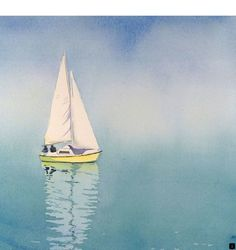 Sail Boat Art - Watercolor Painting Print - Fathers Day - Sailboat Painting, Boat Watercolors - Men Women - Switzerland - Blue - x Watercolor Landscape, Watercolor Print, Watercolor Paintings, Simple Watercolor, Watercolors, Sailboat Art, Sailboat Painting, Nautical Painting, Contemporary Abstract Art