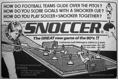 The weirdest, crappest or coolest football game ever? Have you ever played, or even seen Snoccer? Football Cards, Football Players, Snooker Cue, Sir Alex Ferguson, Everton Fc, Play Soccer, Have You Ever, News Games
