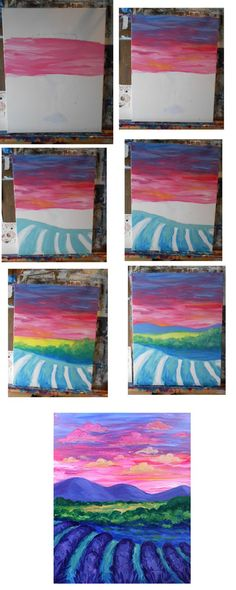 Sunset over lavendar field process painting lessons, canvas painting tutorials, painting techniques, diy Painting Lessons, Art Lessons, Painting & Drawing, Painting Walls, Atelier D Art, Creation Art, Step By Step Painting, Step By Step Watercolor, Art Club