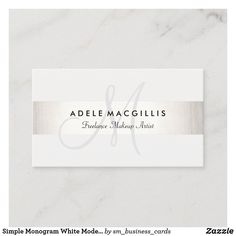 Simple Monogram White Modern FAUX Silver Striped Business Card Beauty Business Cards, Makeup Artist Business Cards, Elegant Business Cards, Professional Business Cards, Consultant Business, Wedding Consultant, Hairstylist Business Cards, Minimalist Business Cards, Monogram