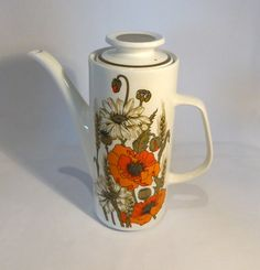 Meakin Studio Line Coffee pot in Poppies design by RetroriginalUK Drinkware Meakin Studio Line Coffee Pot Poppy Poppies Red White 1970s vintage