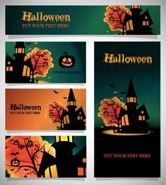 ハロウィン背景カード,館,かぼちゃランタン ベクターイラスト素材