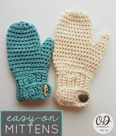 EASY-ON MITTENS CHILD TO ADULT LARGE OOMBAWKADESIGNCROCHET FREE PATTERN, Tutorials included are very helpful!
