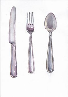 Fork, spoon and knife  in watercolor by ramika on Creative Market