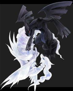 Zekrom and Reshiram - Pokemon Black and White Pokemon Go, Pokemon Black, Entei Pokemon, Pokemon Fan Art, Pokemon Cards, Wallpaper Pokémon, Eevee Wallpaper, Deadpool Pikachu, Pokemon Universe