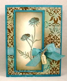 Faux Patina Field Flowers Card     Paper: Very Vanilla, Marina Mist