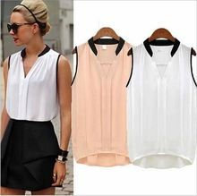 2016 Summer Blusas Femininas Women Casual V-neck Chiffon Blouses European style Sleeveless Shirts For Women(China (Mainland))