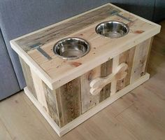 handmade pallet dog bowl stand with storage from 101 Pallet Furniture