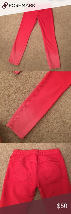 Free people ombré coral jeans Super fun pants! Starts darker coral on top and fades to a light pink. Great paired with a white top and sandals! Free People Jeans Ankle & Cropped