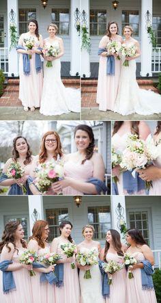 Beautiful color palette for bridesmaids! #blush #grey #bride #bridesmaids #spring #wedding @cedarwoodwed #cedarwoodweddings Photos by Krista Lee Photography