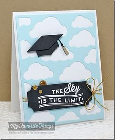 Blue Skies Ahead, Cloud Cover-Up Die-namics, Graduation Accents Die-namics, Layered Label Die-namics - Barbara Anders #mftstamps