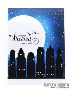 Card by Francine (www.1001cartes.ch) karte, carte, carterie, cardmaking, cardmaker, crafts, papercrafts, handmade, diy, stamping, #1001cartes, penny black stamps, metropolitan, city landscape by night, snippets, starry night sky, Distress inks
