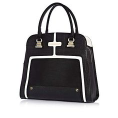 Black and white structured square tote bag - shoulder bags - bags / purses - women