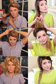 Grace Helbig trying to follow a hair tutorial video :D