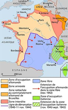Map Of France 1940.German Italian Occupation Zones Of France 1940 1944 Maps Map