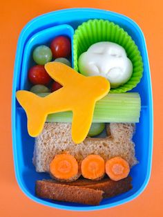 plane, train & automobile bento - if you look closely, the sandwich is in the shape of a train with carrot wheels!