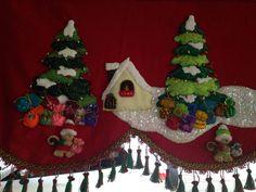 cenefa navideña Christmas Fabric, Felt Christmas, Christmas Humor, Christmas Crafts, Christmas Decorations, Xmas, Christmas Ornaments, Holiday Decor, Felt Ornaments