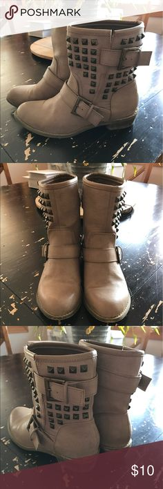 Forever 21 Studded Boot Size 7 tan Studded boot. Only worn a few times, still in great condition! Stickers still on bottom. Forever 21 Shoes Combat & Moto Boots