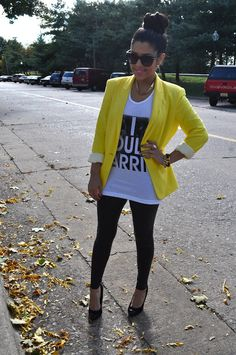 yellow blazer + Tee + Leggings = rocky glam style