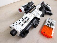 Nerf Longshot Arctic Camo by JLCustomsCreations on Etsy Nerf Longshot, Modified Nerf Guns, Cool Nerf Guns, Nerf Darts, Nerf Mod, Water Guns, Lego Mechs, Assault Rifle, Arctic