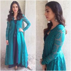 Yay or Nay Aditi Rao Hydari in a Payal Pratap outfit for Wazir movie promotions on the Rajeev Masand show . Outfit ~ Styled by ~ . Salwar Designs, Pakistani Outfits, Indian Outfits, Indian Dresses, Indian Attire, Indian Wear, Indian Designer Outfits, Designer Dresses, Ethnic Fashion