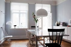 Baby blue walls and white furniture