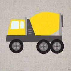 Oopsy Daisy - Yellow Cement Mixer Canvas Wall Art 10x10, Vicky Barone