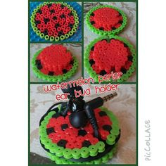 Watermelon ear bud holder perler beads by kathlynenikki