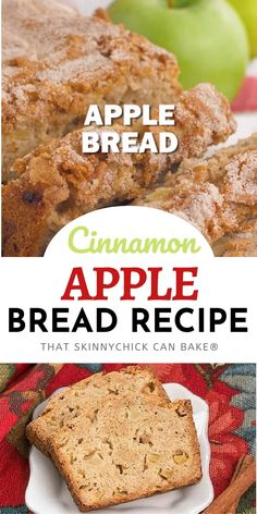 Apple Bread - This moist, cinnamon-spiced apple bread is perfect for snacking, breakfast or brunch! A sweet and tender quick bread recipe, it's chock full of apples and topped with cinnamon sugar.