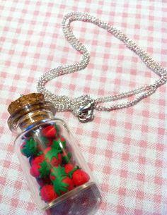 Super Sweet Strawberry Bottle Necklace. £7.00, via Etsy.