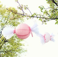 Turn lanterns and tulle into giant candy wrappers.
