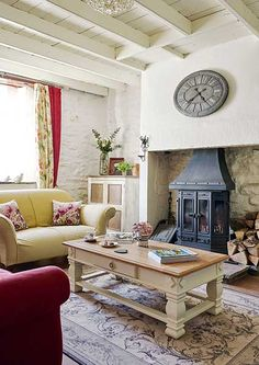 stone cottage traditional white living room with stove