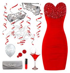 """Happy New Year In Red!"" by majezy ❤ liked on Polyvore featuring Lulu Townsend, Ellie Shoes, Edward Bess and Regal Jewelry"