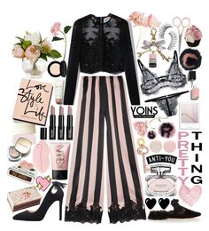 """""""Yoins: how to wear pijamas to go out"""" by styling-w-mabel ❤ liked on Polyvore featuring Rosamosario, Sanayi 313, Lord & Berry, Gucci, Ladurée, Anastasia Beverly Hills, NARS Cosmetics, Shabby Chic, Sia and Trish McEvoy"""