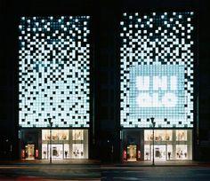 Architecture that Responds – Interactive Facades - Bookmarc Retail Facade, Shop Facade, Building Facade, Building Design, Cladding Design, Facade Design, Exterior Design, Facade Lighting, Exterior Lighting