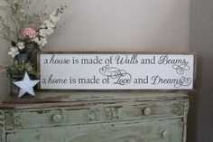 A house is made of walls and beams a home is made of love and dreams 1'x4' sign.